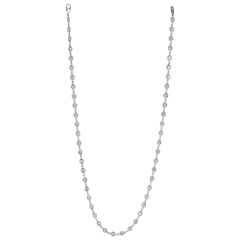 7.55 Carat Diamond by the Yard Necklace G SI 14 Karat White Gold 15 Pointer