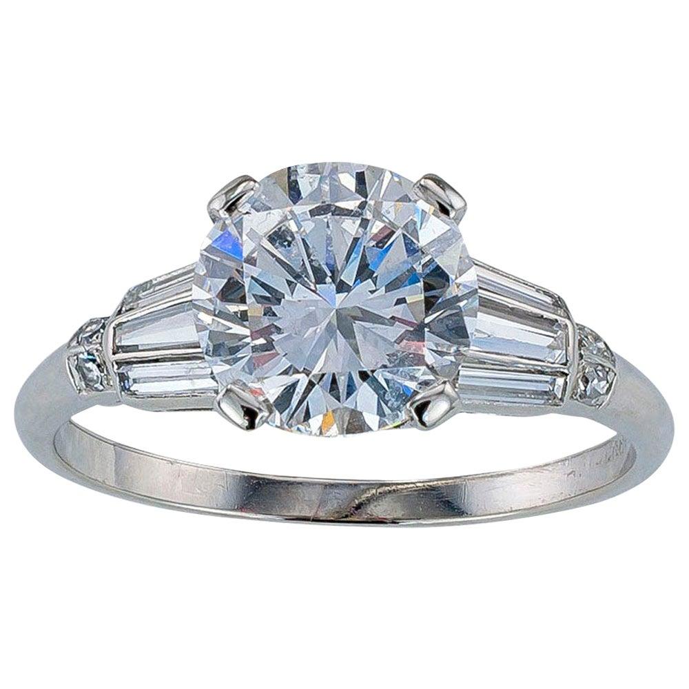 GIA Report Certified D Color 1.65 Carat Diamond Platinum Engagement Ring