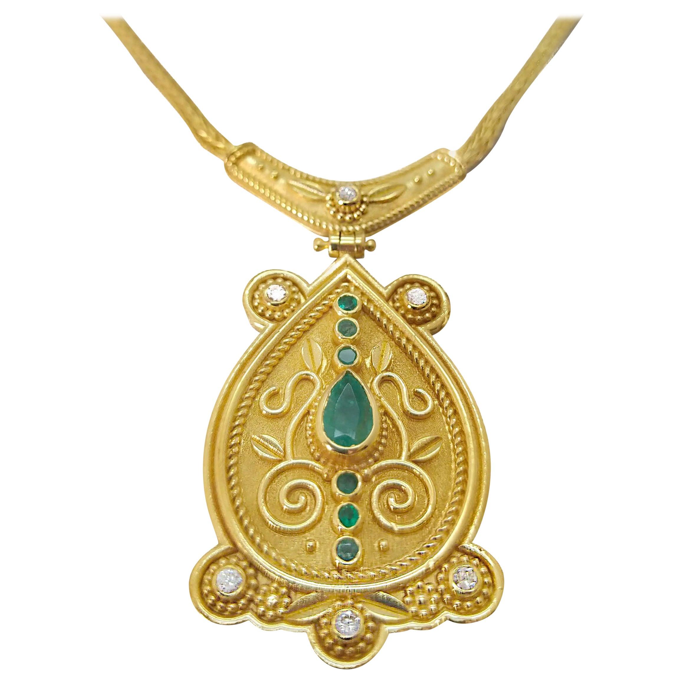 Georgios Collections 18 Karat Yellow Gold Diamond Emerald Drop Pendant Necklace