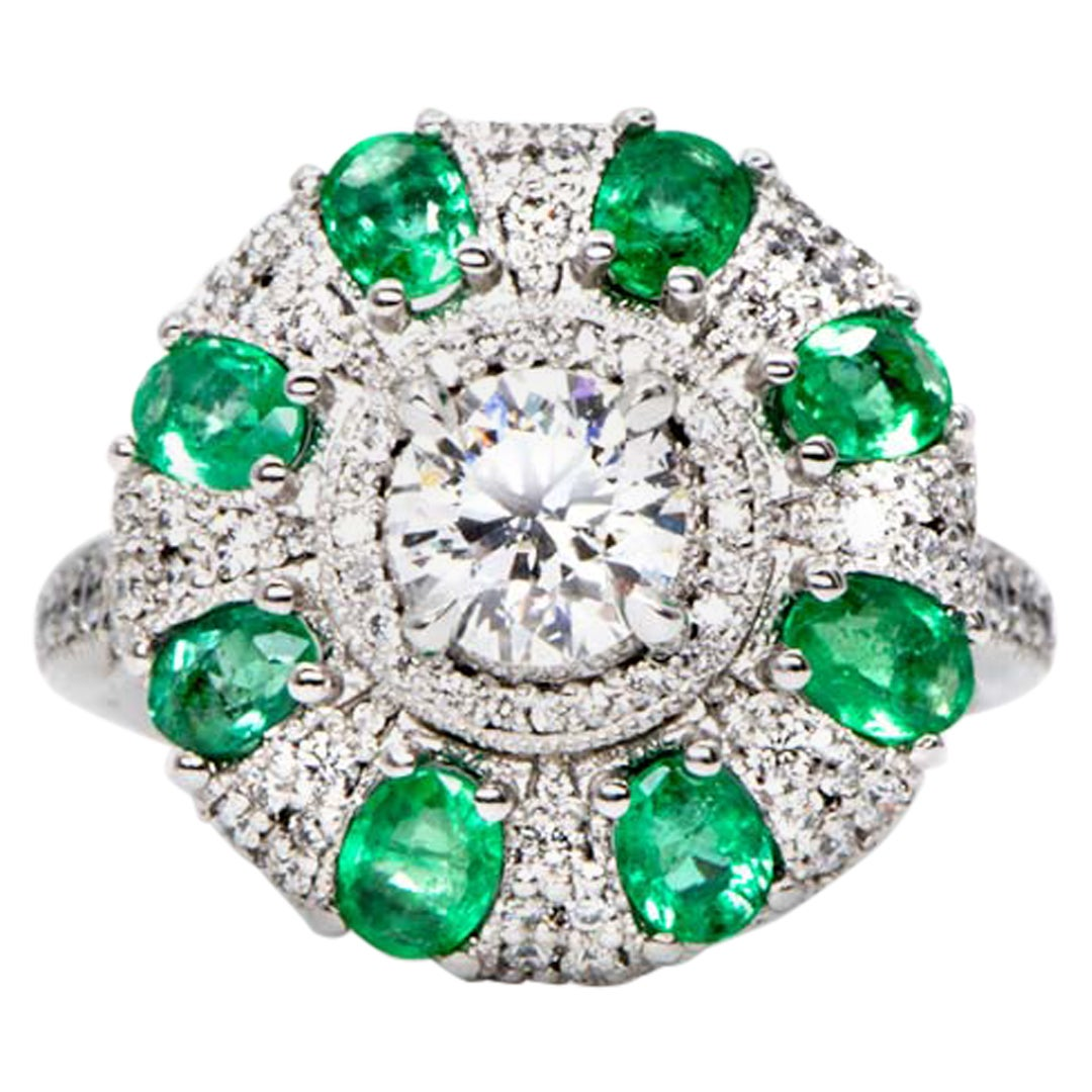 0.78 Carat Round Diamond Emerald Cluster Ring White Gold Natalie Barney