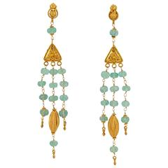 Etruscan Style Emerald Bead and Gold Chandelier Earring