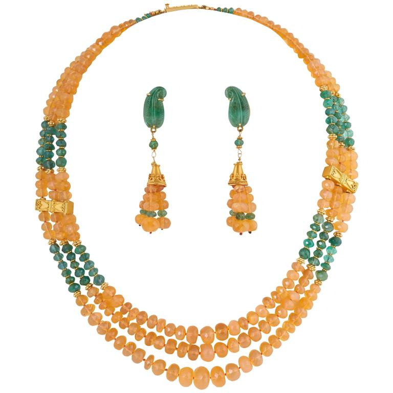 Unique Mexican Fire Opal and Emerald Bead Necklace and Earrings