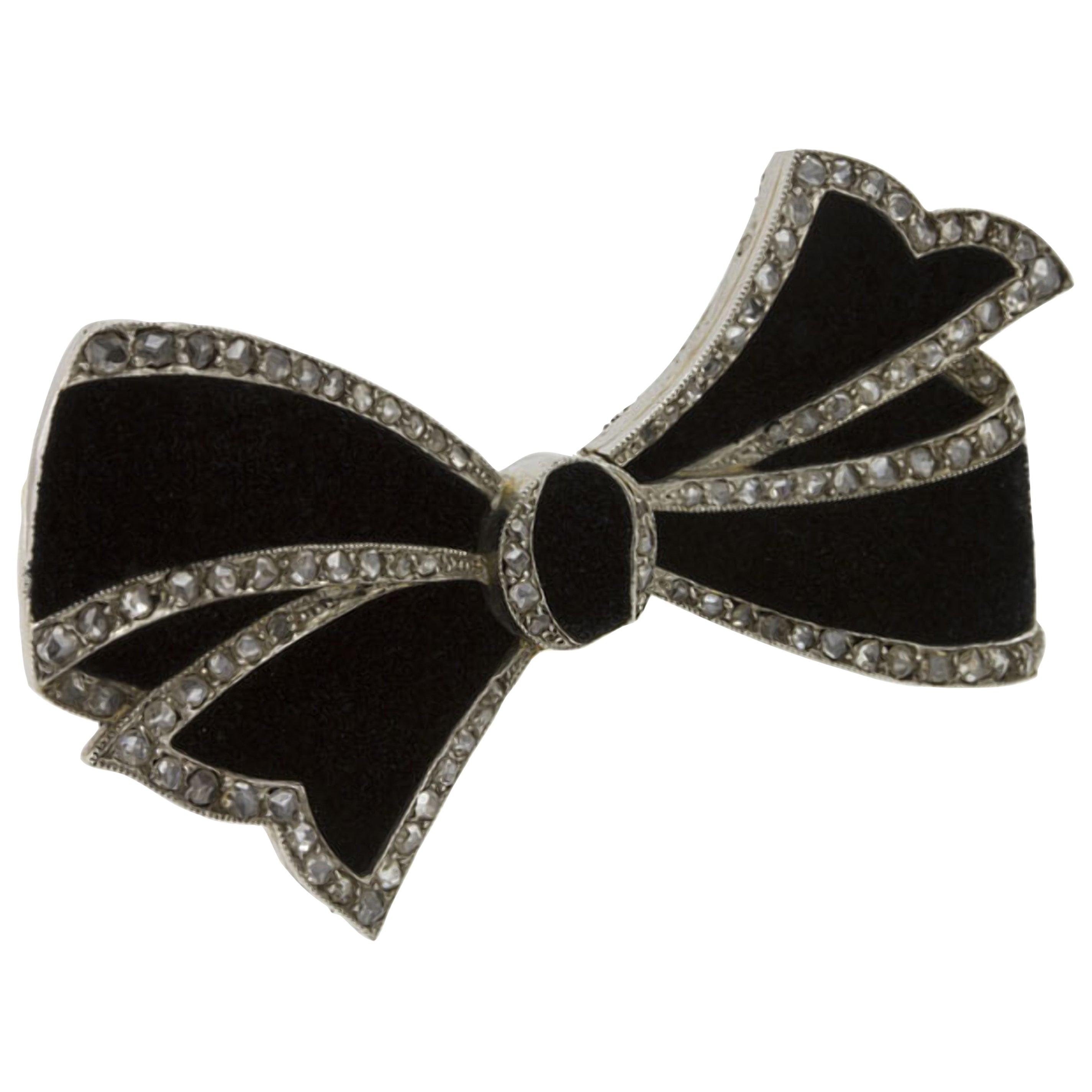 Belle Epoque Diamond Bow Brooch Attributed to Cartier