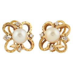 Diamond and Pearl Horse Shoe Clip Earrings