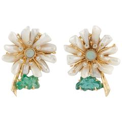One of a Kind Mississippi Pearl and Emerald Flower  Earrings