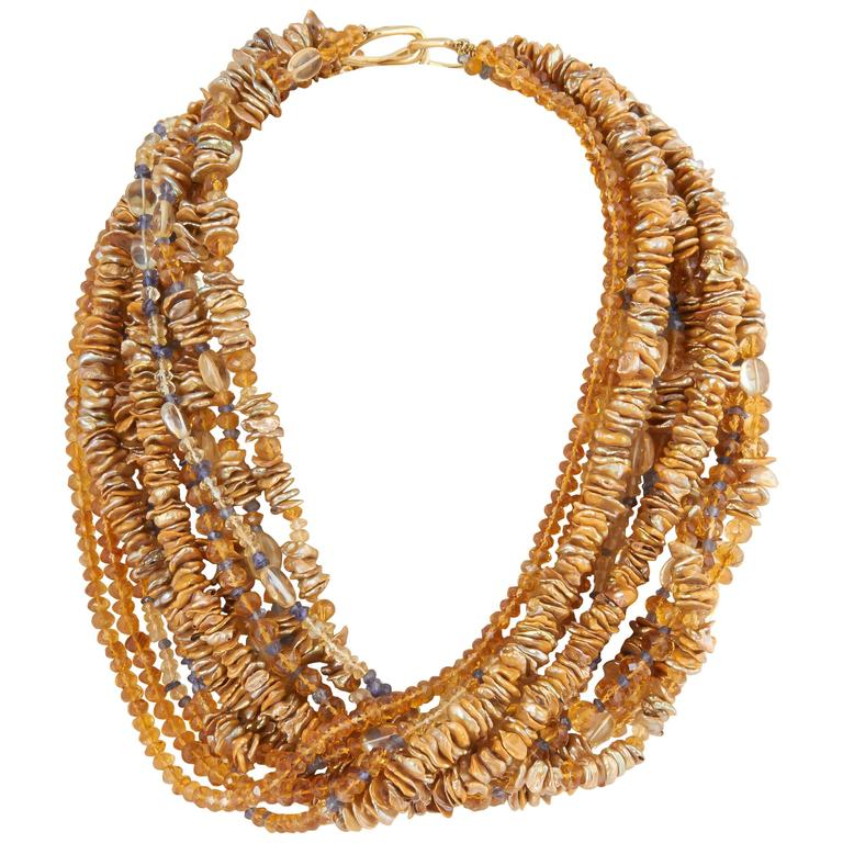 Impressive Pearl Citrine and Sapphire Multistrand Necklace