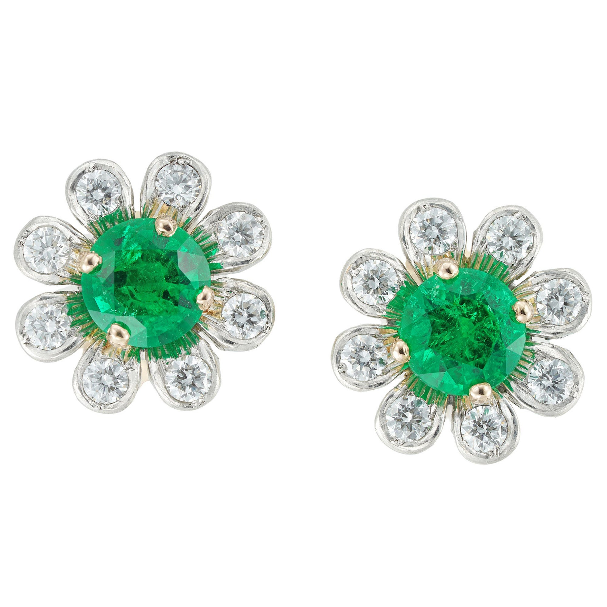 Pair of Emerald and Diamond Cluster Earrings