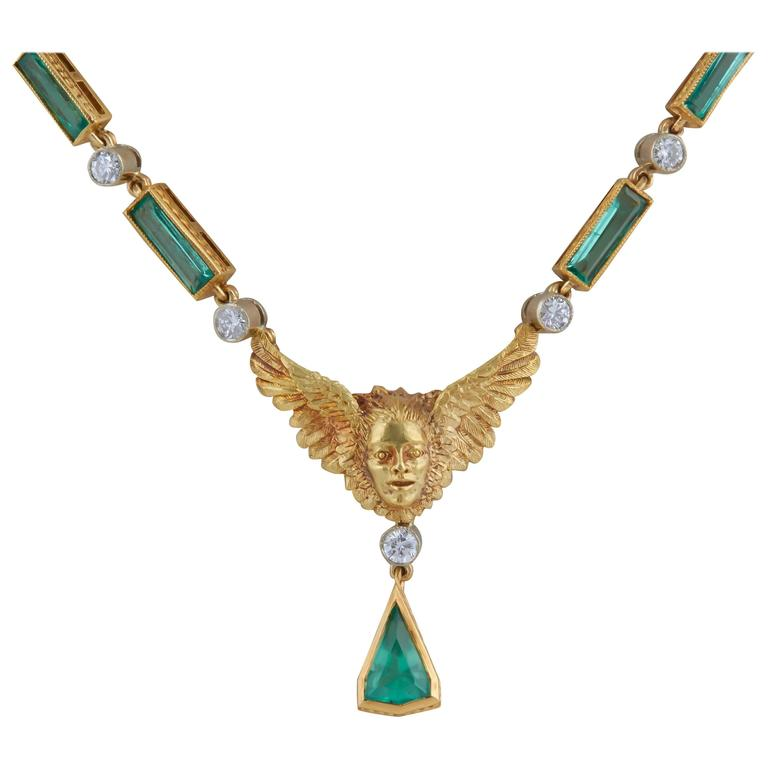 Gold Cherub with Wings Emerald and Diamond Necklace