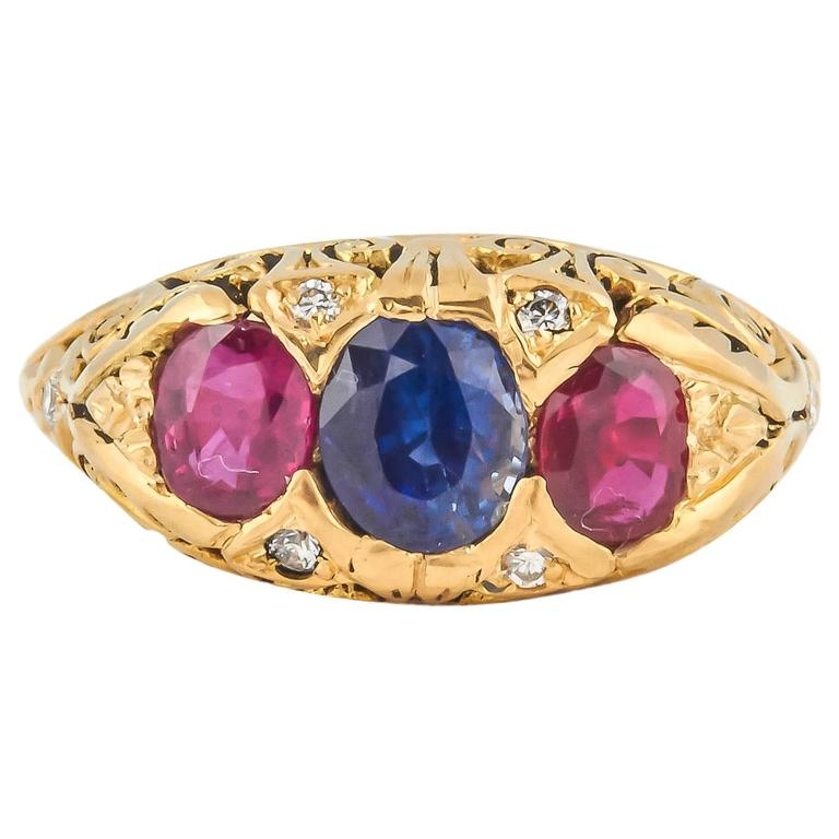 Striking Ruby Sapphire Diamond gold Ring