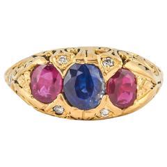 Striking Ruby Sapphire Diamond Gold Ring