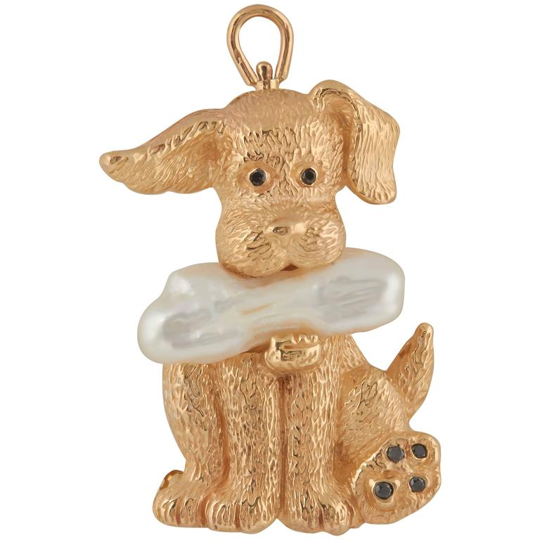 Charming Gold Dog and Bone Pin Pendant