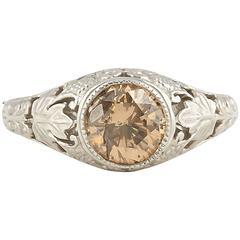 Yellow Brown Round Diamond Platinum Ring