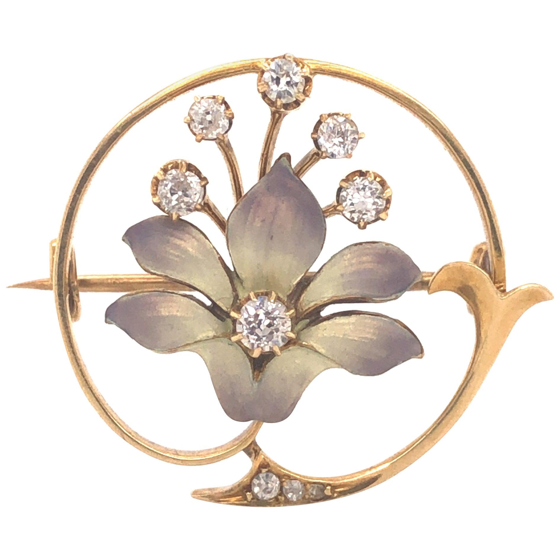Edwardian Enamel Orchid Diamond Floral Brooch Yellow Gold