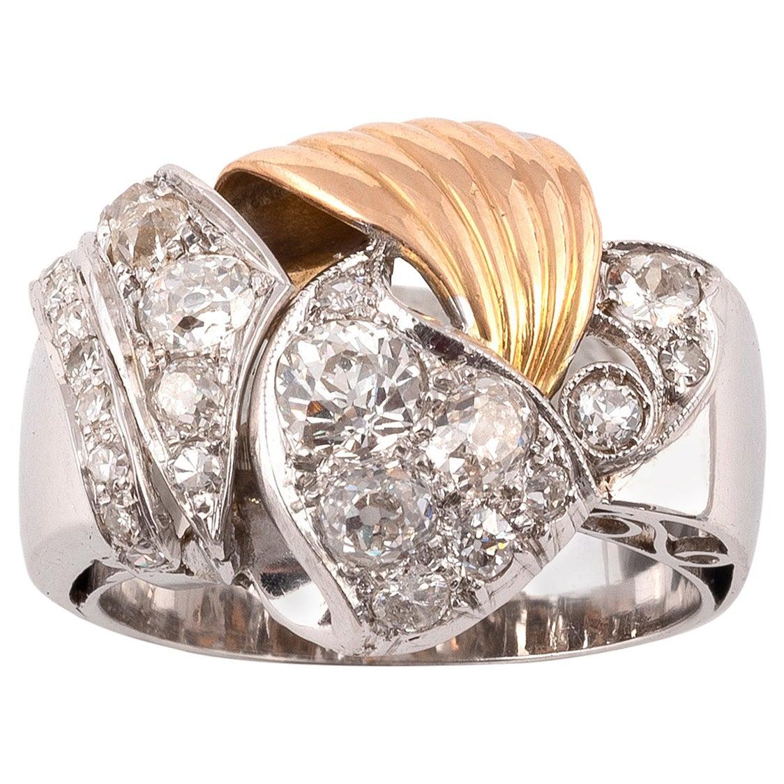 18 Karat White and Yellow Gold Diamond Retro Ring