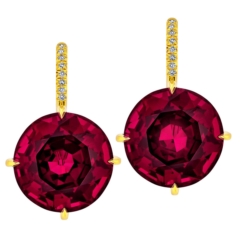 Rhodolite Garnet Diamond Gold Drop Earrings