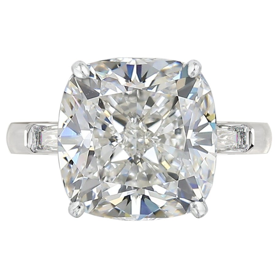 GIA Certified 6 Carat Cushion Cut Diamond Ring VS1 Clarity 3 EX