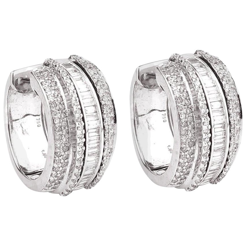 1.67 Carat Diamond 18 Karat Gold Huggie Hoop Earrings