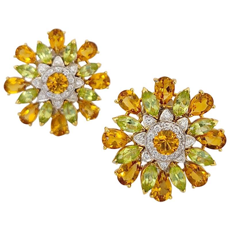 Cellini 18KT YG, 12.60Ct. Citrine, 4.6Ct. Peridot and .43 Carat Diamond Earrings