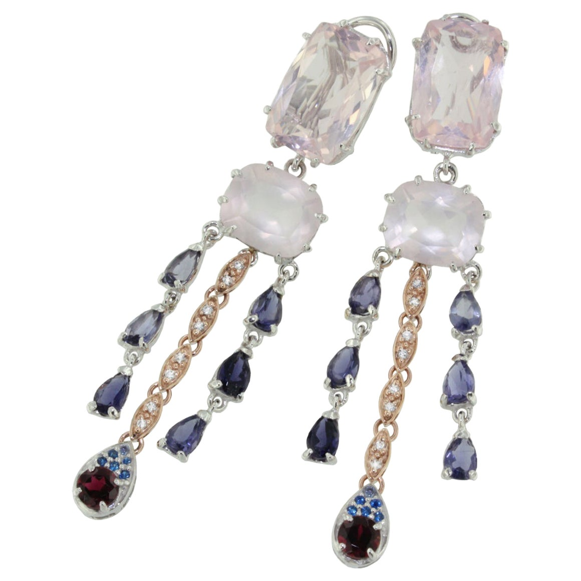 18k White Rose Gold with Pink Quartz Iolite Pink Tourmaline Diamonds Earrings