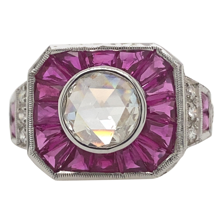 Art Deco Inspired Diamond and Ruby Ring 18 Karat White Gold