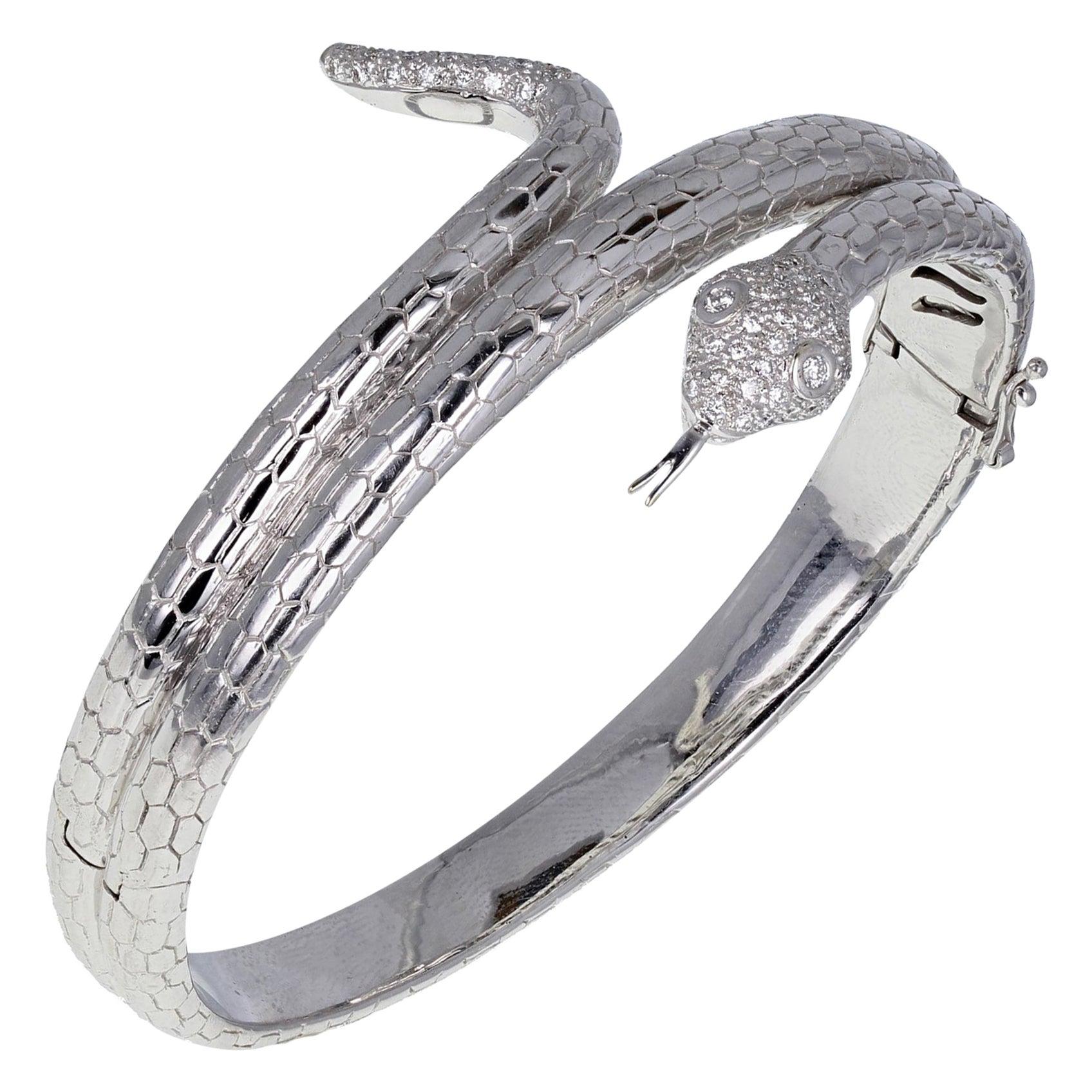 18 Carat White Gold Diamond Snake Serpent Bangle Bracelet