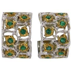 Buccellati Roselline Emerald Gold Hoop Earrings