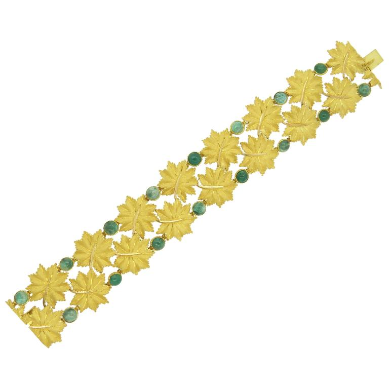 Impressive Buccellati Cabochon Emerald Gold Leaf Bracelet For