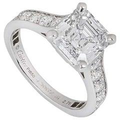 Cartier Solitaire 1895 Asscher Cut Diamond Engagement Ring 2.76 Carat D/IF