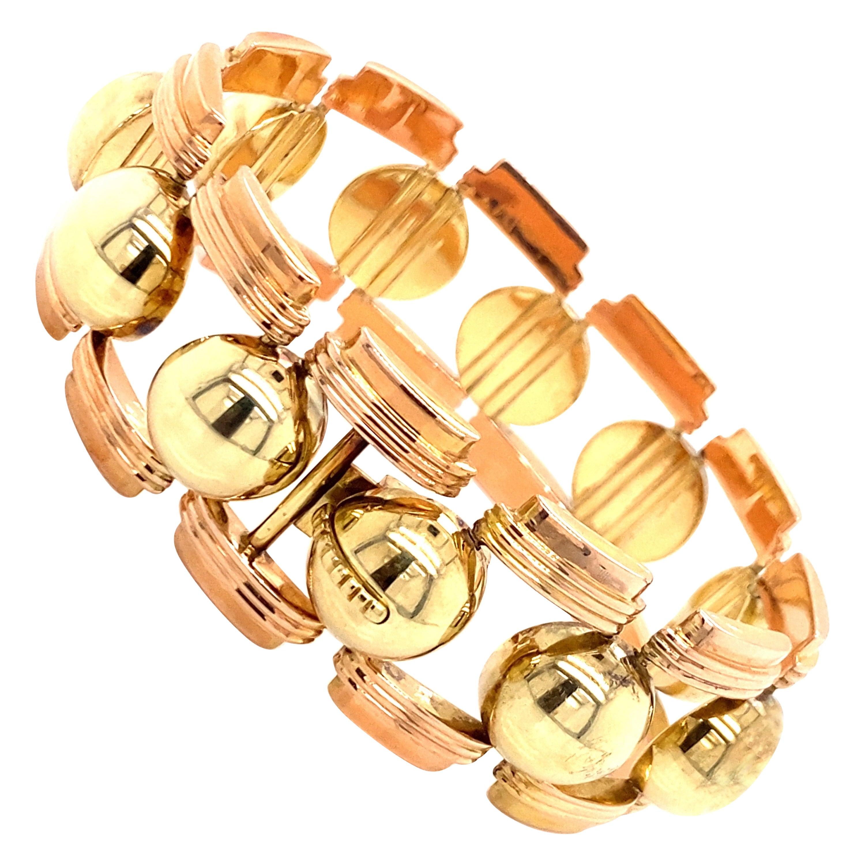 Vintage 1980's 14K Rose and Yellow Gold Wide Link Bracelet