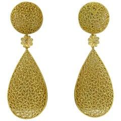 Impressive Buccellati Filidoro Gold Long Drop Earrings