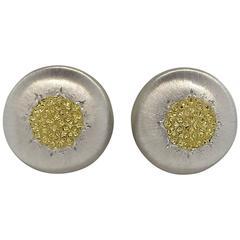 Buccellati Geminato Sterling Silver Gold Button Earrings