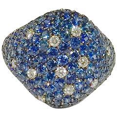 Jona Sapphire Diamond Pavé Gold Signet Ring