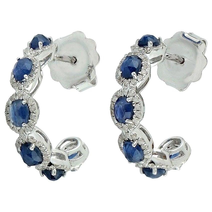 2.8 Carat Blue Sapphire 14 Karat Gold Diamond Hoop Earrings