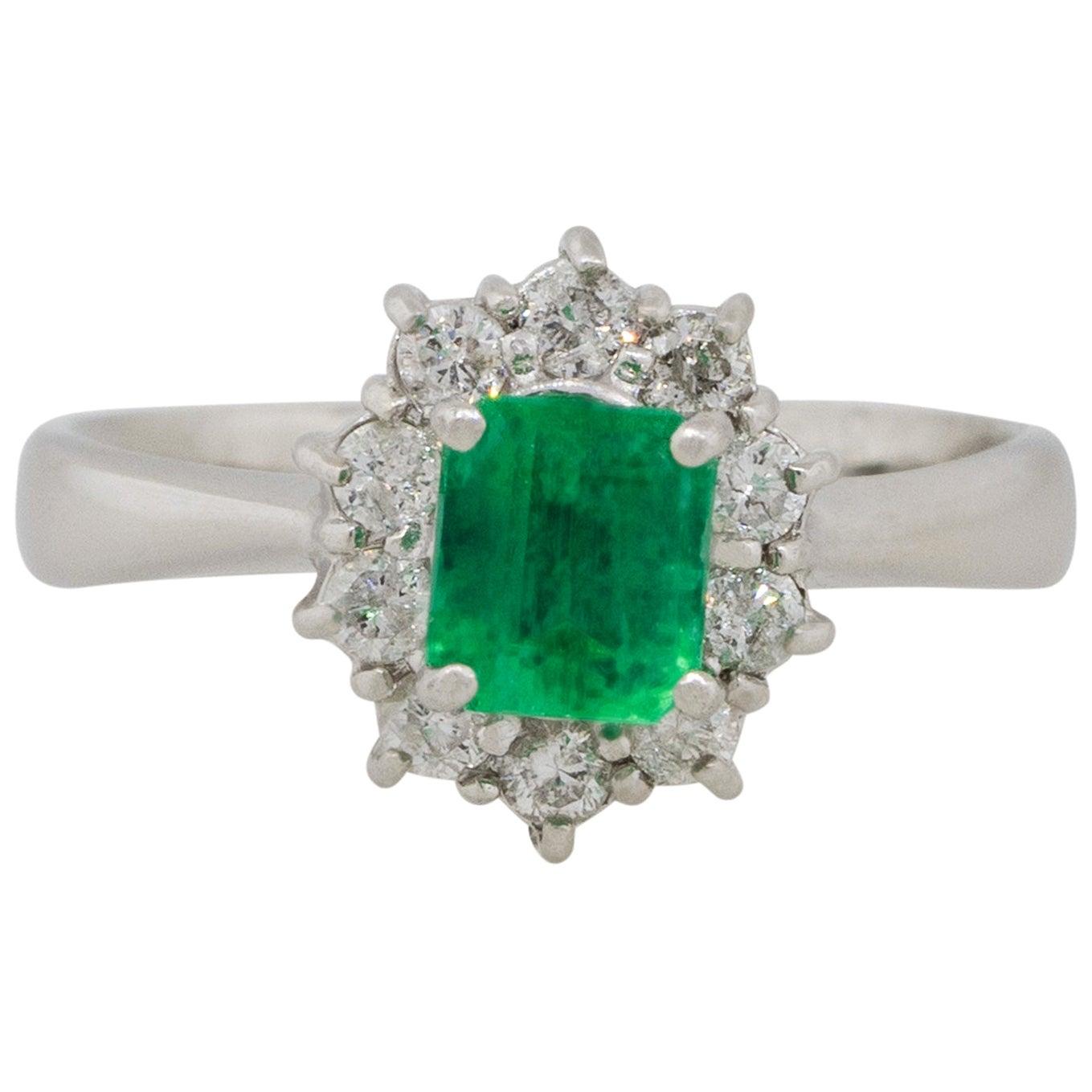 0.43 Carat Emerald Center Diamond Halo Ring Platinum in Stock