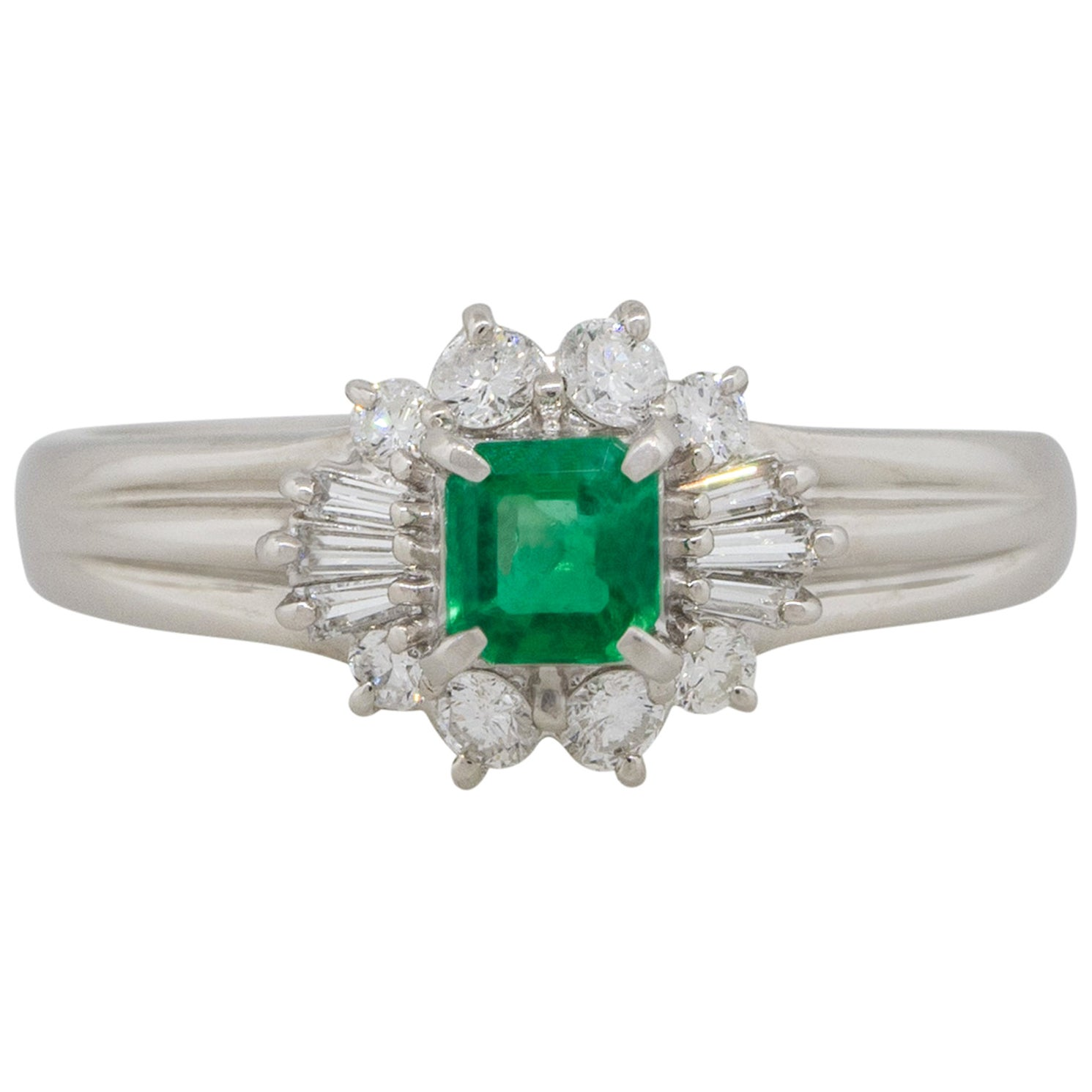 0.26 Carat Emerald Center Diamond Cocktail Ring Platinum in Stock