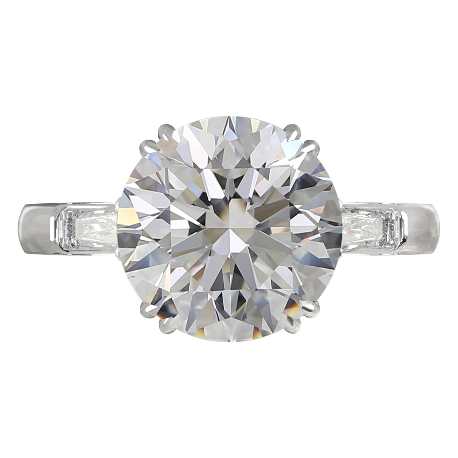 GIA Certified 5 Carat Round Brilliant Cut Diamond Ring Triple Excellent Cut