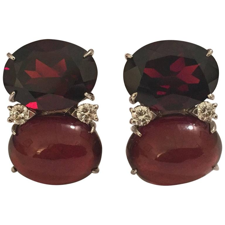 Jumbo GUM DROP™ Earrings with Garnet and Cabochon Garnet and Diamonds