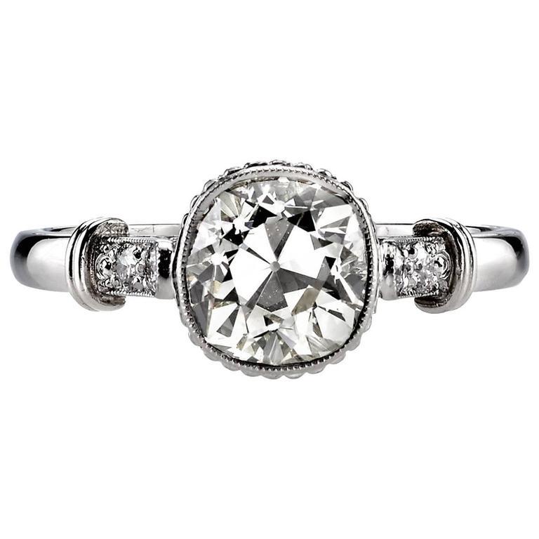 1.57 carat Cushion Cut diamond platinum Engagement Ring  For Sale