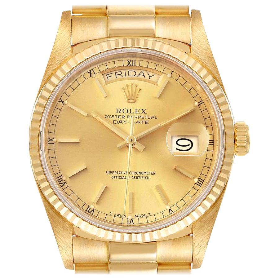 Rolex President Day-Date Yellow Gold Men's Watch 18038 Box