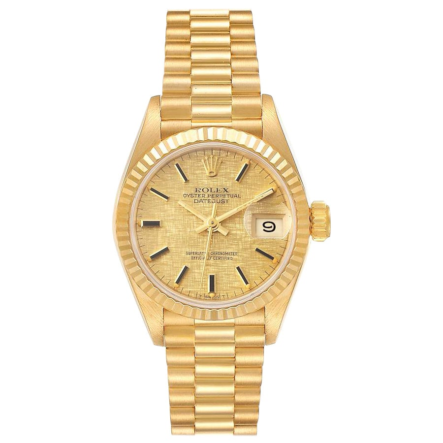 Rolex President Datejust Linen Dial Yellow Gold Ladies Watch 69178