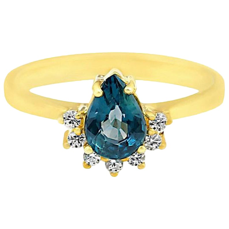 Teal Sapphire Ring, Diamond Engagement Ring, Blue Sapphire Engagement Ring