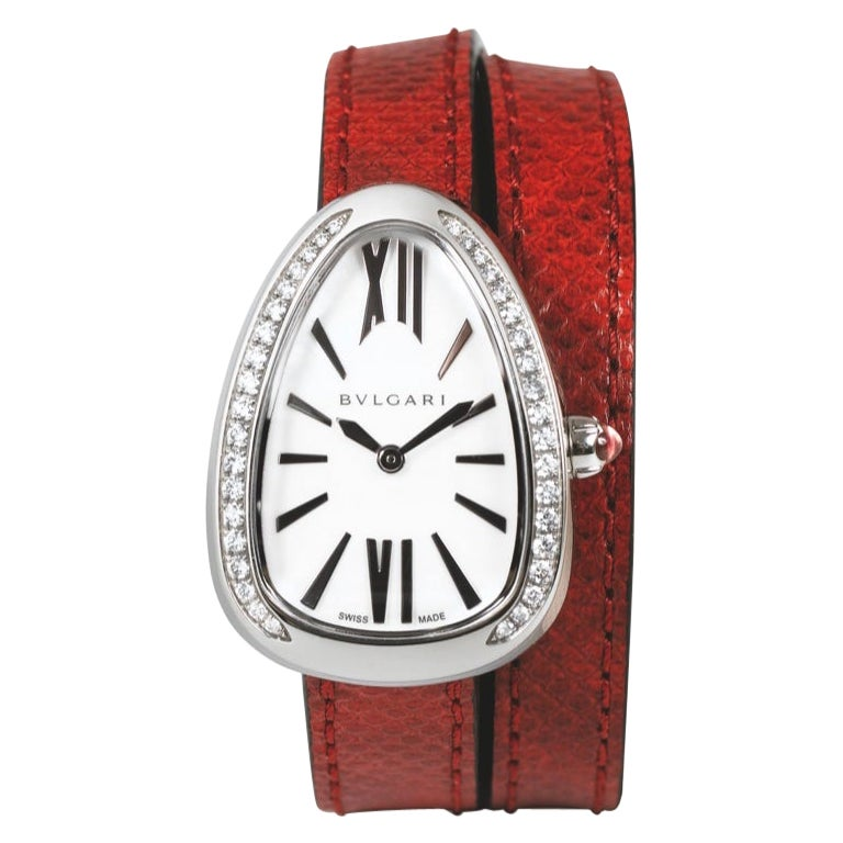 Bulgari Serpenti Diamonds Stainless Steel Case Mother of Pearl Dial Two Leather