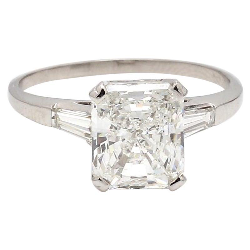 3.43 Carat F VS2 Radiant Cut Diamond Ring, GIA Certified