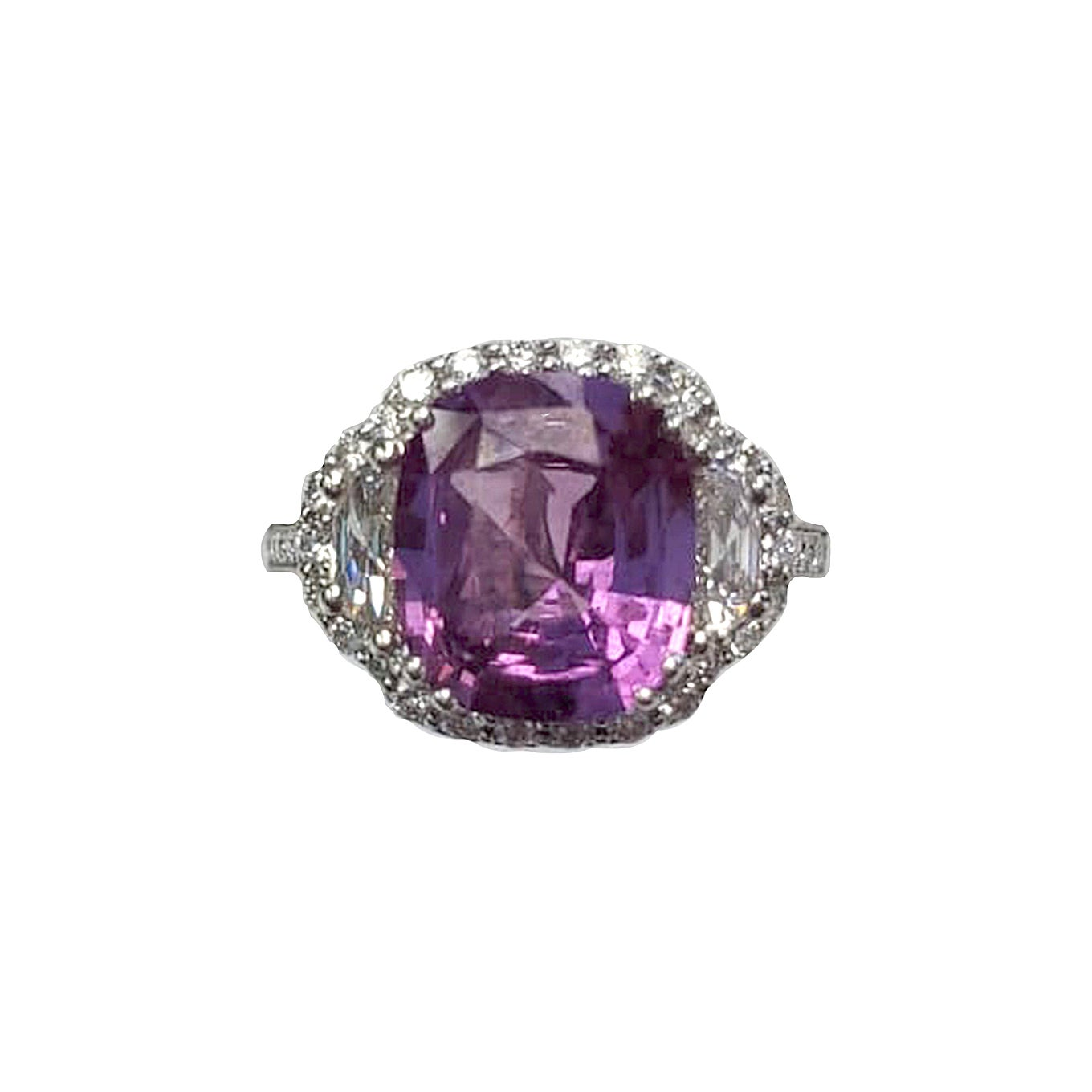 GIA Certified Natural Pink Sapphire 3-Stone Ring with Diamonds