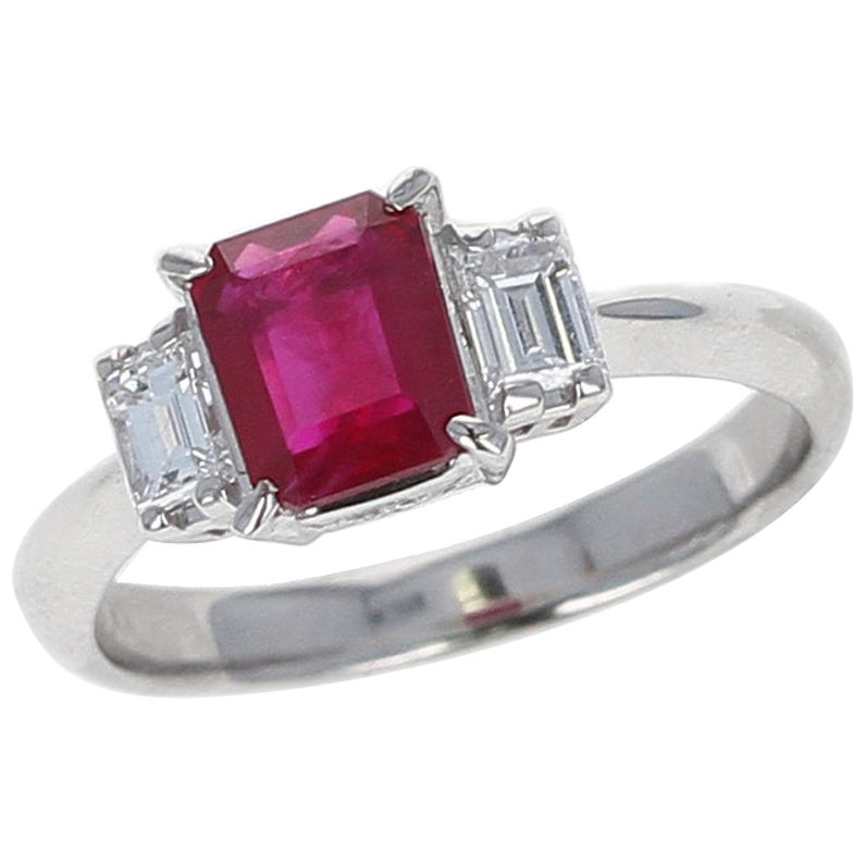GIA Certified 1.25 Carat Emerald-Cut Burma Ruby Three-Stone Diamond Ring