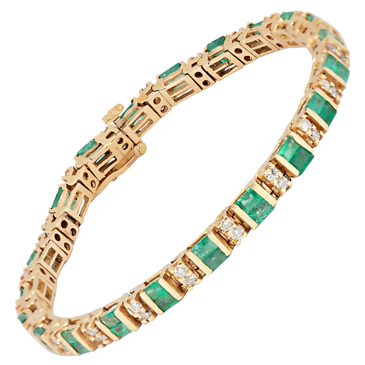 Baguette Emerald and Round Diamond Line Bracelet