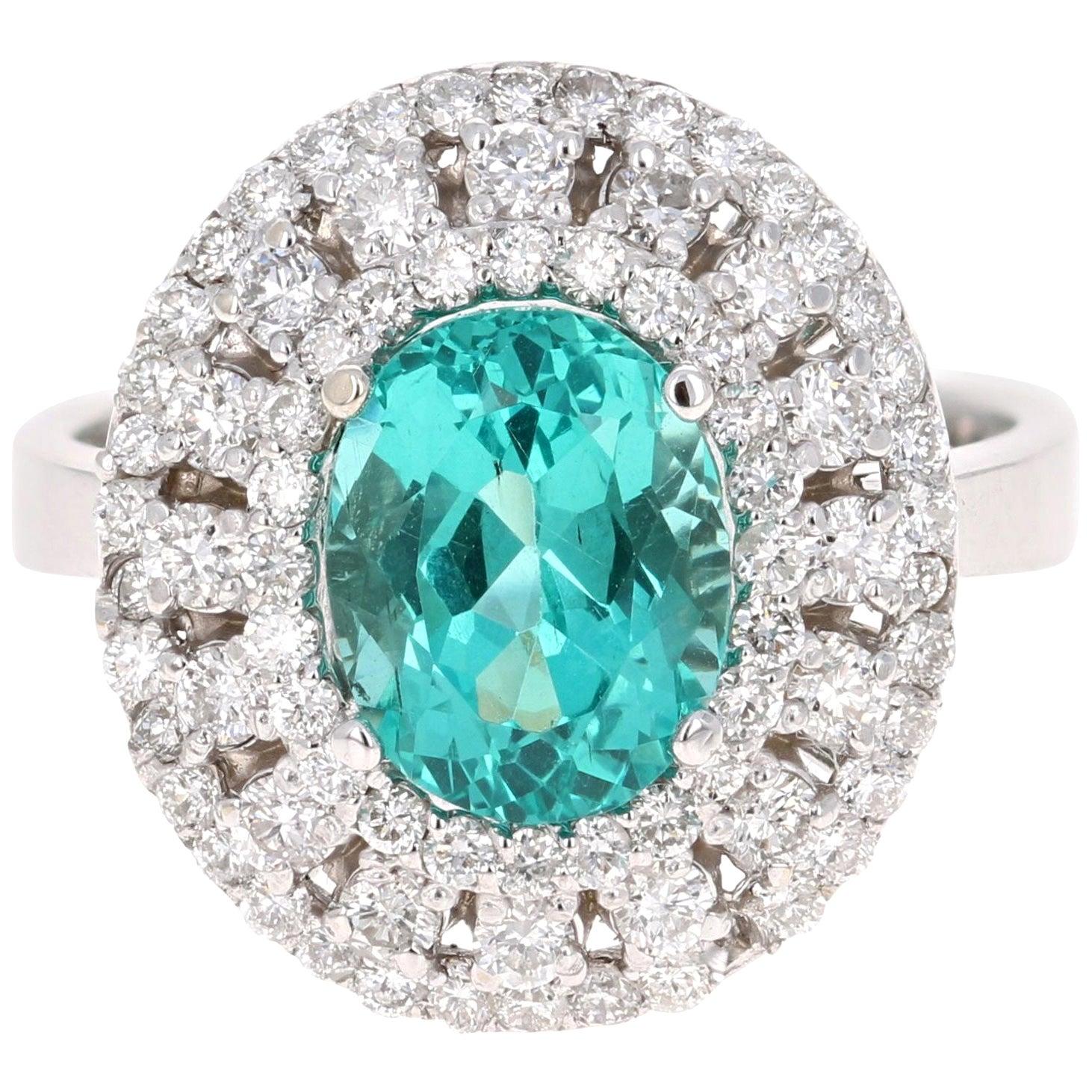 3.71 Carat Apatite Diamond Ring 14 Karat White Gold Cocktail Ring