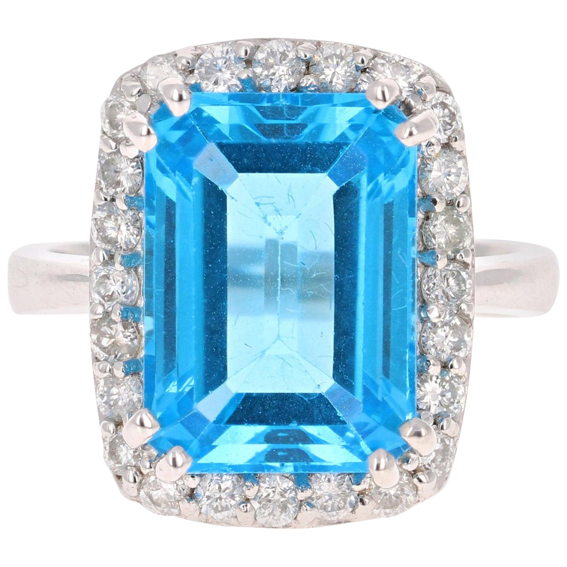 9.88 Carat Blue Topaz Diamond White Gold Cocktail Ring