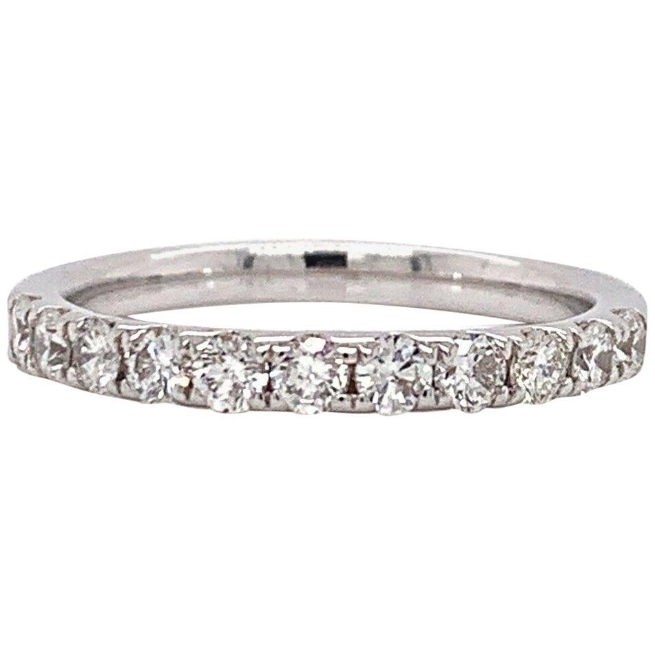 14 Karat White Gold and 0.61 Carat Diamond Wedding Band Ring