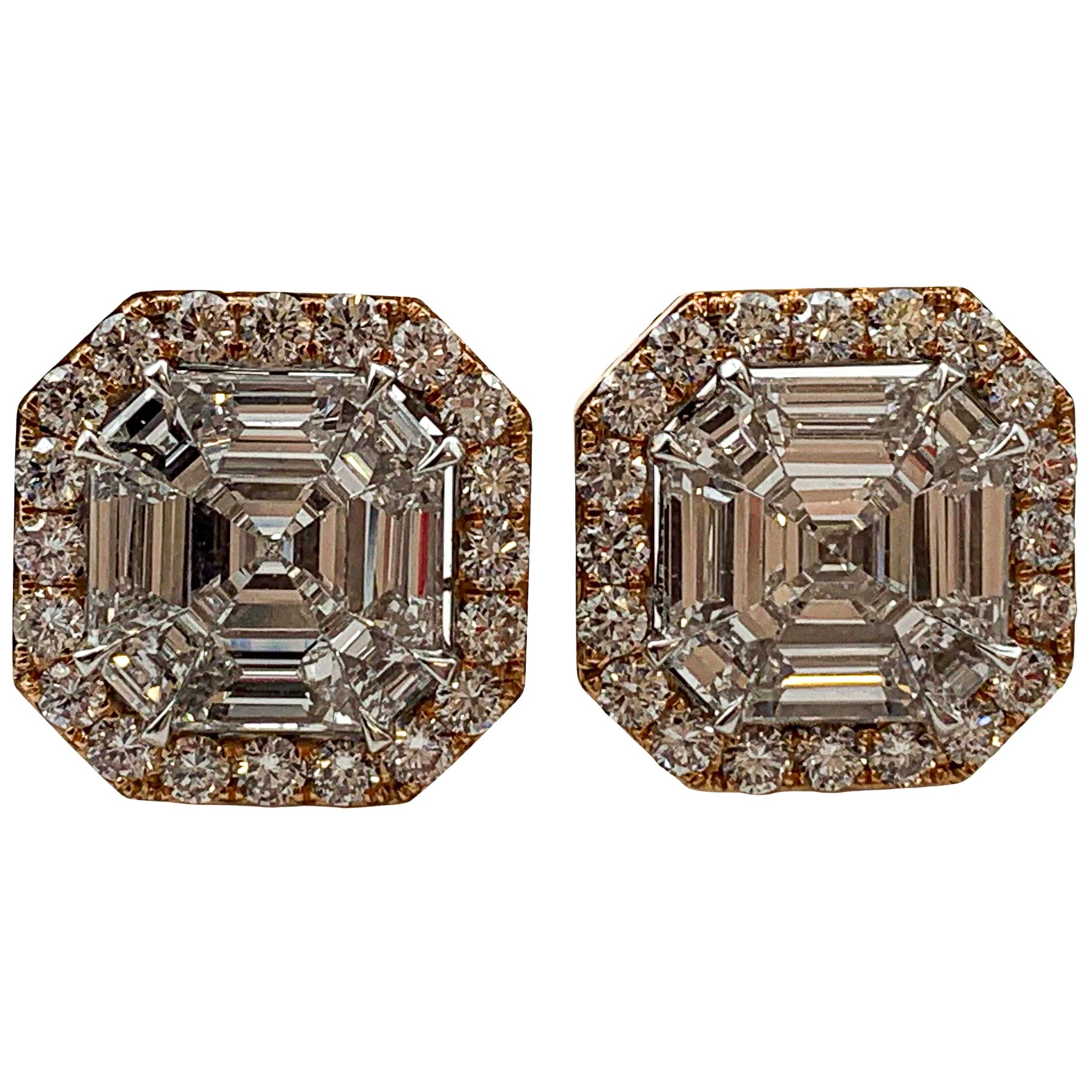 Diamond Earrings 4.60 Carat 18 Karat Gold E/VS